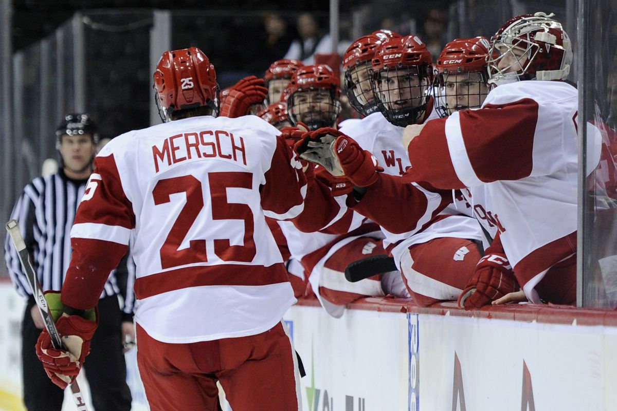 Michael Mersch scored twice Friday as the Badgers defeated Penn State 2-1