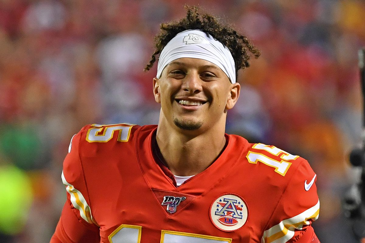 Quarterback Patrick Mahomes of the Kansas City Chiefs runs up the field before the game against the Indianapolis Colts at Arrowhead Stadium on October 6, 2019 in Kansas City, Missouri.