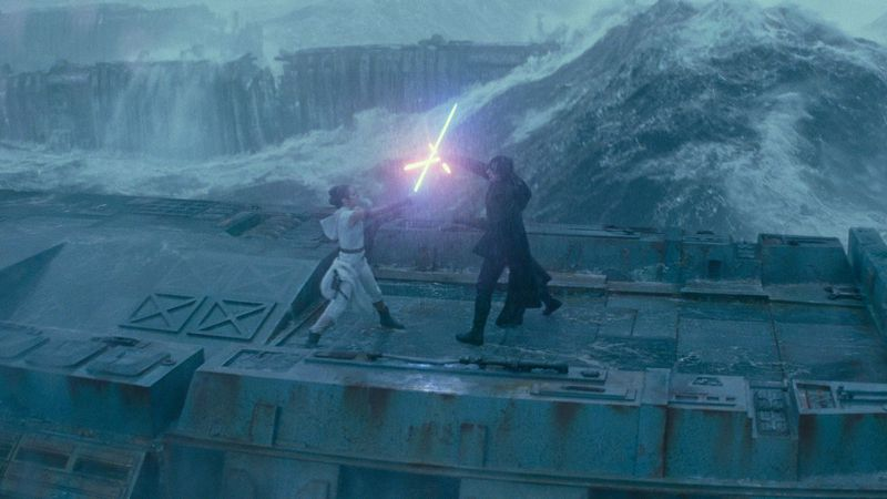 Kylo Ren and Rey battle, again, in The Rise of Skywalker.