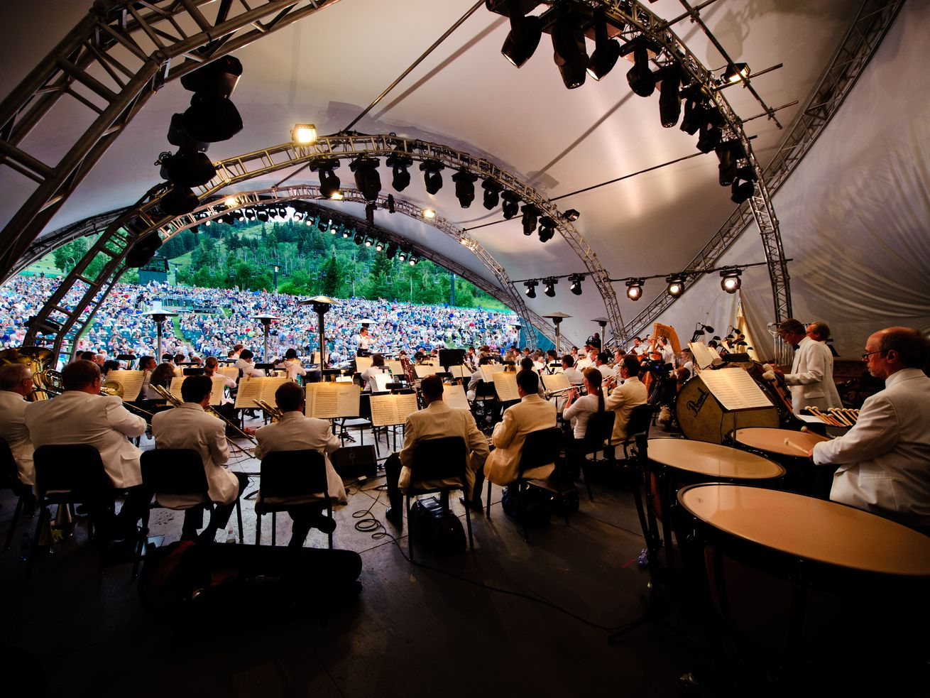 Members of the Utah Symphony play in Deer Valley's Snow Park Amphitheater. This summer will be the 15th year of the Deer Valley Music Festival.