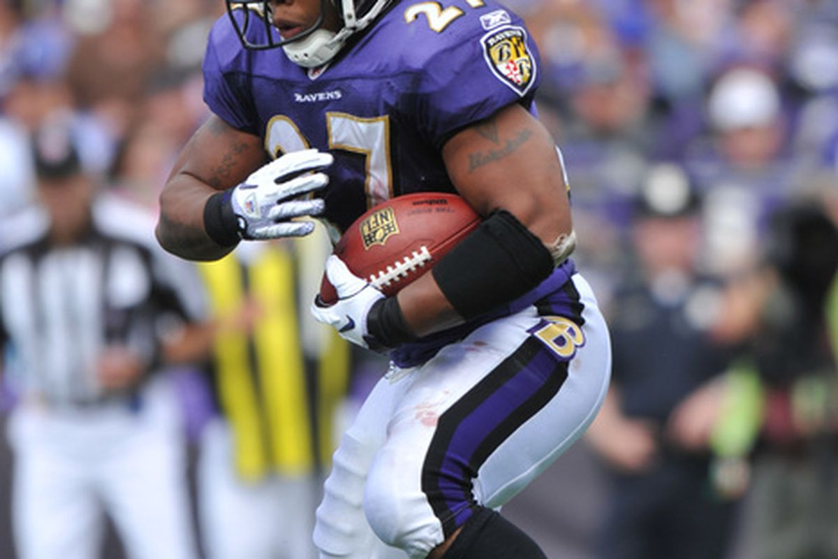 BALTIMORE - SEPTEMBER 26:  Ray Rice #27 of the Baltimore Ravens runs the ball against the Cleveland Browns  at M&T Bank Stadium on September 26 2010 in Baltimore Maryland. The Ravens defeated the Browns 24-17. (Photo by Larry French/Getty Images)