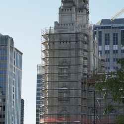 The Salt Lake Temple under renovation prior to the Sunday morning session of the 191st Semiannual General Conference of The Church of Jesus Christ of Latter-day Saints in Salt Lake City on Sunday, Oct. 3, 2021.