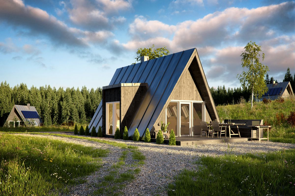 A frame house kits offer affordability and quick build for Steel frame cabin