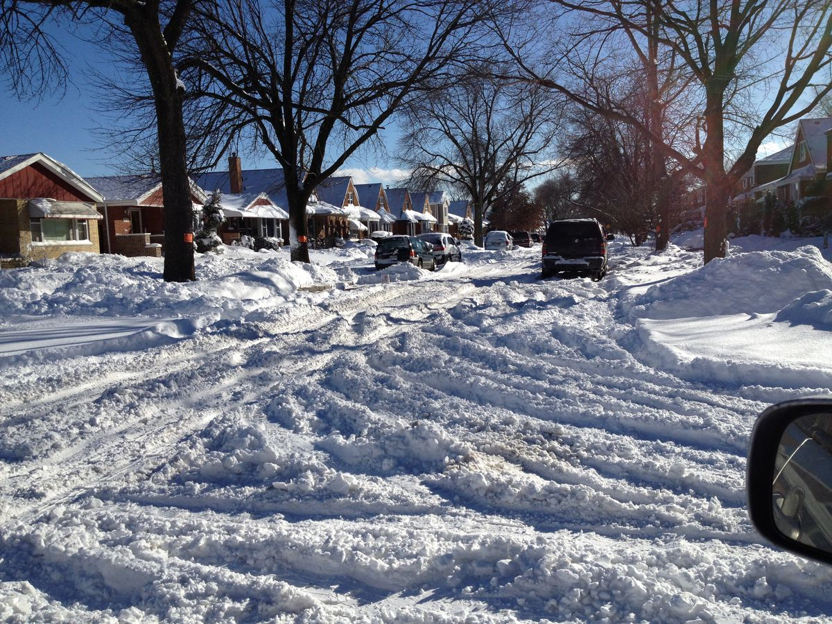 Hamlin Avenue, a couple of blocks from Ald. Edward M. Burke's house, shown in early February 2015. It remained unplowed days after a snowstorm while the street in front of Burke's house was cleared. | Dan Mihalopoulos/ Sun-Times