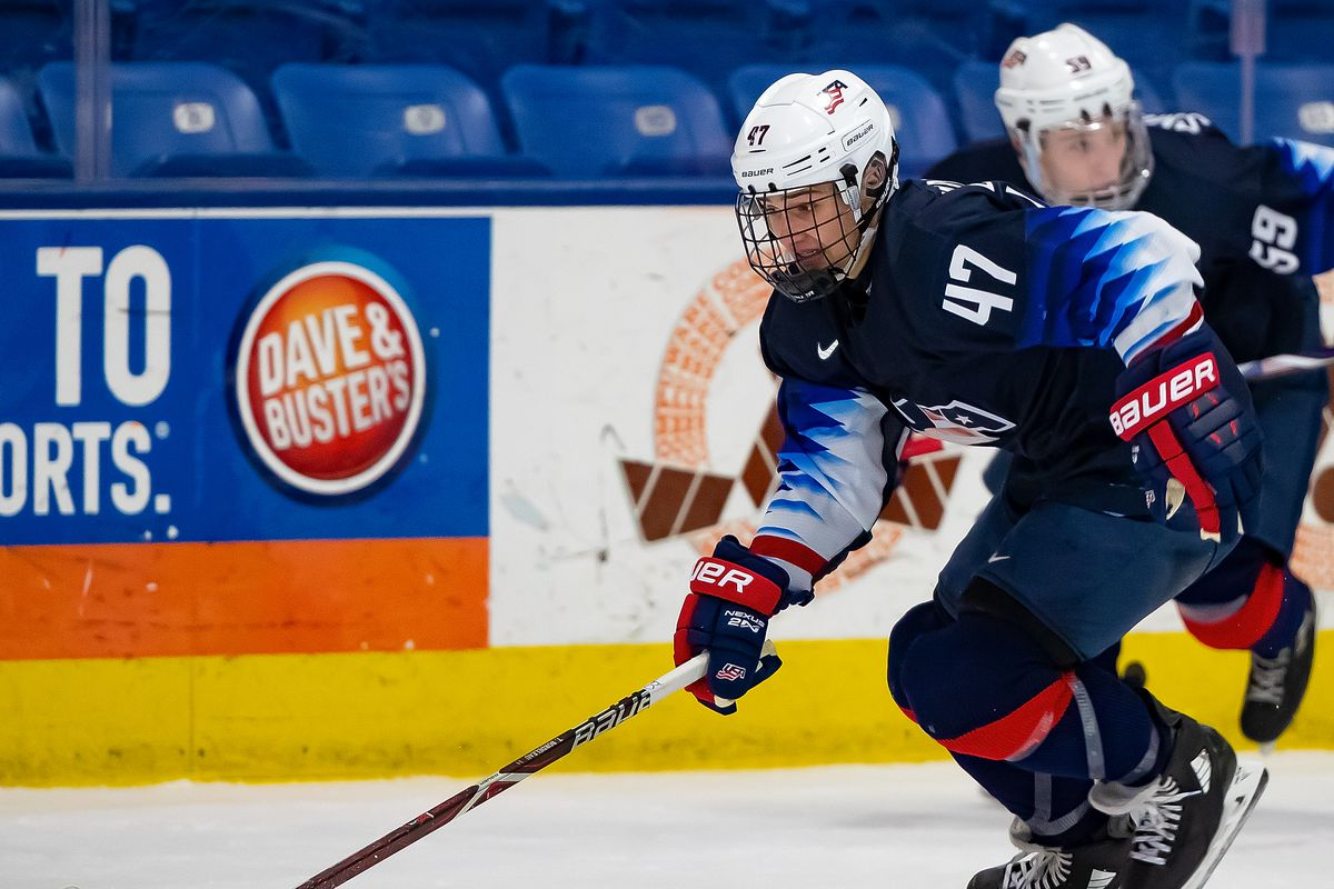 Thomas Bordeleau #47 of the U.S. Nationals skates up ice with the puck against the Switzerland Nationals during day-2 of game two of the 2018 Under-17 Four Nations Tournament at USA Hockey Arena on December 12, 2018 in Plymouth, Michigan. USA defeated Switzerland 3-1.