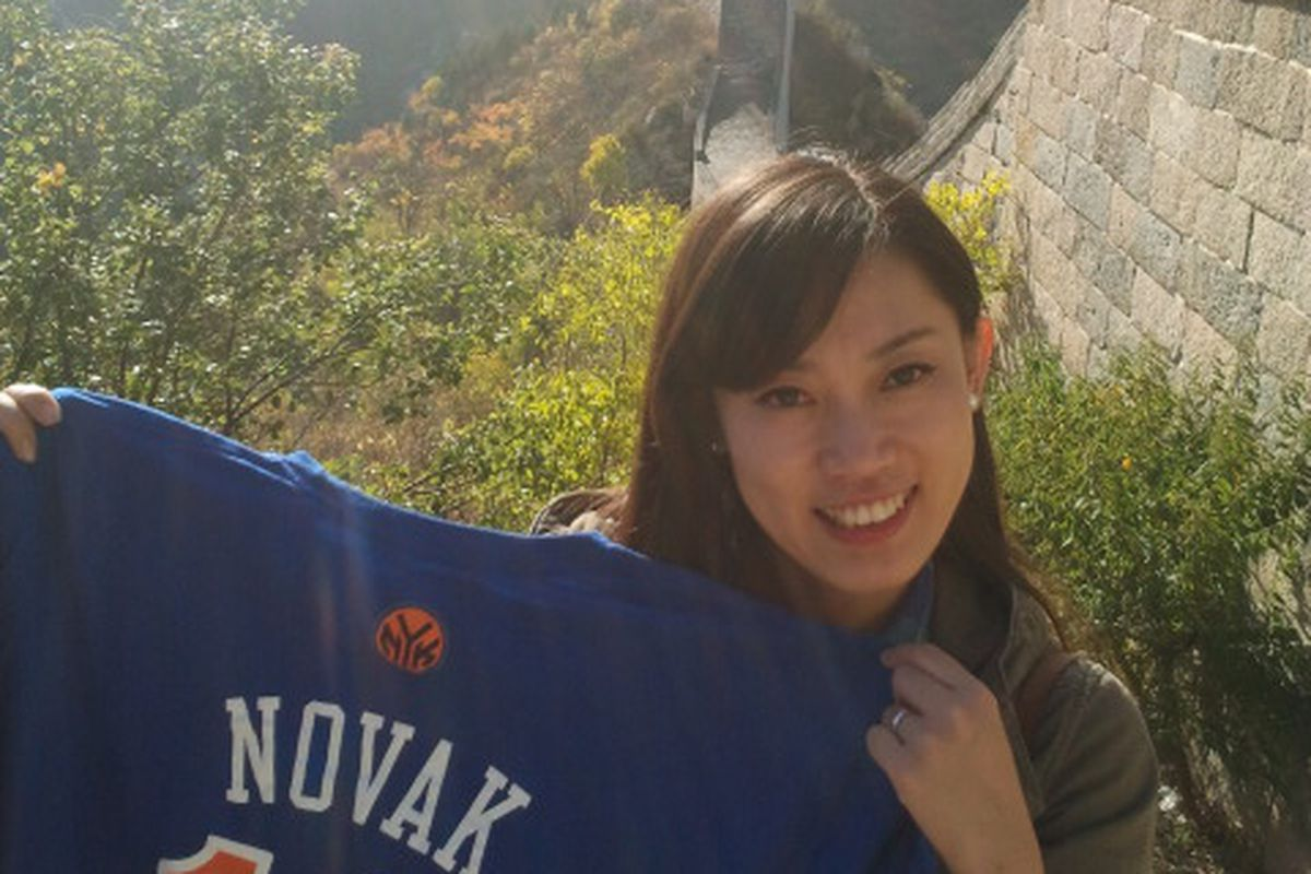 My lovely wife, keeping it real for the Knicks on the Great Wall