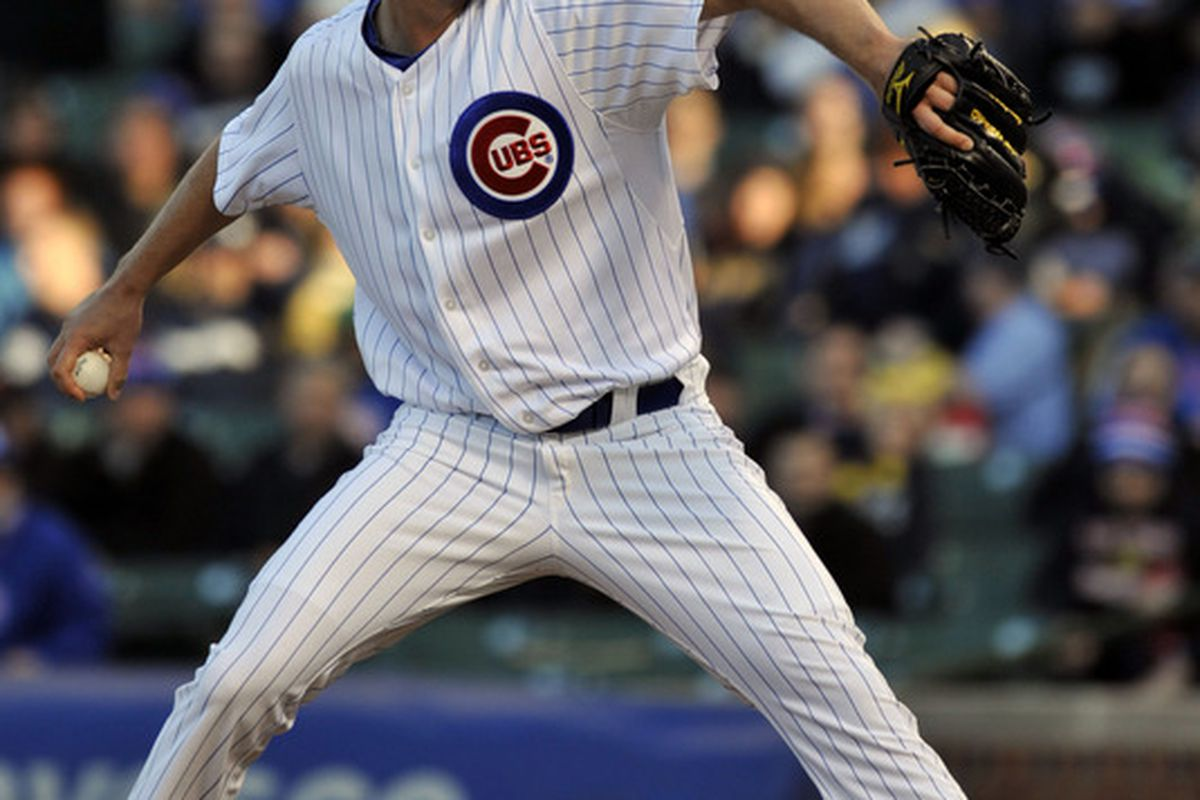 Apr 9, 2012; Chicago, IL, USA;  Chicago Cubs starting pitcher Chris Volstad (32) pitches against the Milwaukee Brewers at Wrigley Field.  Mandatory Credit: David Banks-US PRESSWIRE