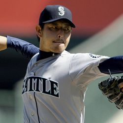 Seattle Mariners starter Hisashi Iwakuma, of Japan, pitches to the Los Angeles Angels in the second inning of a baseball game in Anaheim, Calif., Thursday, Sept. 27, 2012.