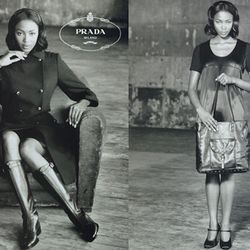 """<span class=""""credit"""">Image of Prada's 1994 ad campaign starring <strong>Naomi Campbell</strong> <a href=""""http://musicpowerandpolitics.wordpress.com/2013/07/06/prada-ad-features-a-black-model/"""">via.</a></span>1994: Appointed head of PR for <strong>Prada</s"""
