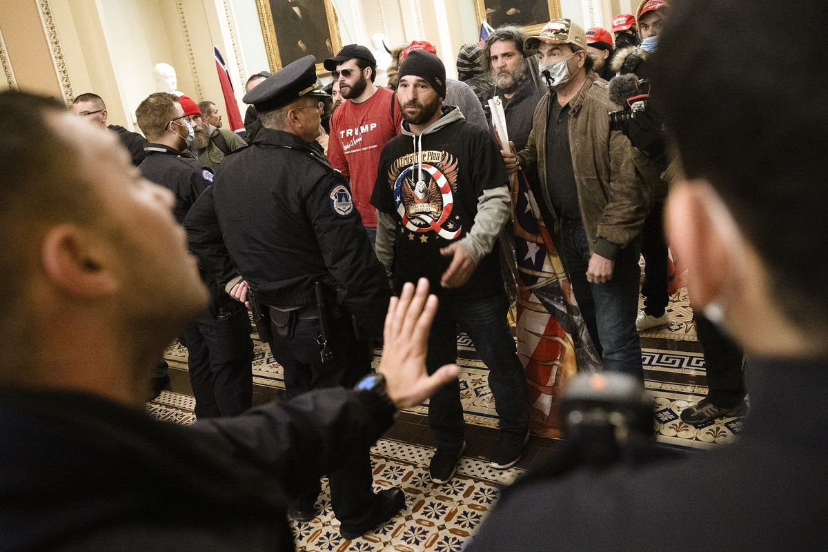 A pro-Trump mob confronts Capitol Police after the group stormed the building. Win McNamee/Getty Images