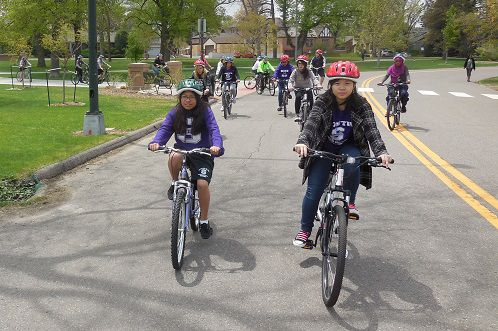 Students spent about an hour biking at Wash Park on a recent afternoon.