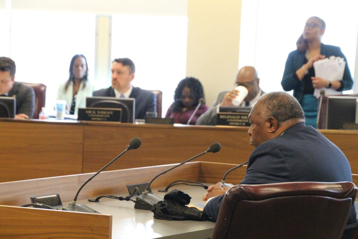 Interim school board candidate Aubrey Howard presents before the Shelby County Commission.