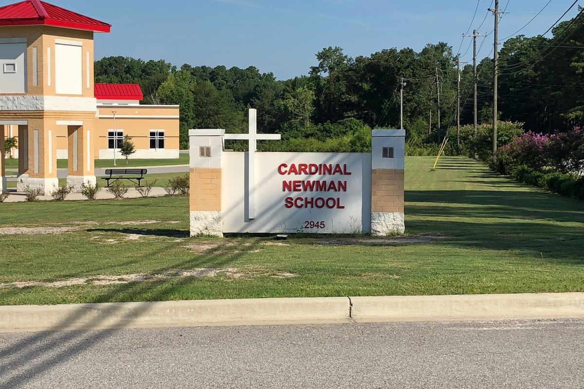 Cardinal Newman School in Columbia, S.C., is seen in this photo on Tuesday, Aug. 6, 2019. Parents with students at the private Catholic school are angry officials waited two weeks to let them know a 16-year-old student was expelled and arrested after auth