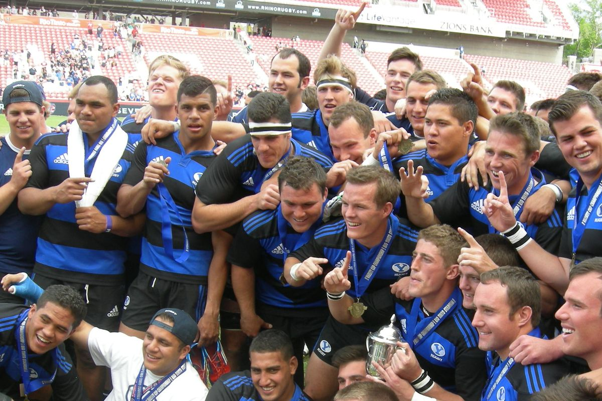 BYU celebrates with the Varsity Cup
