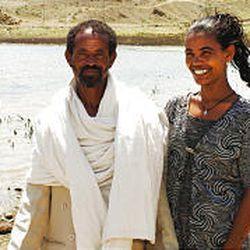 Birhan Weldu and her father, Weldu Menameno, on Oct. 1 in Mekele, Ethiopia. Birhan is now a college student.