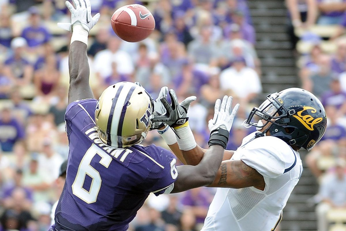 SEATTLE, WA - SEPTEMBER 24:  Marvin Jones #1 of the California Golden Bears has the ball knocked away by Desmond Trufant #6 during the second quarter at Husky Stadium on September 24, 2011 in Seattle, Washington.  (Photo by Harry How/Getty Images)