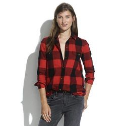 """""""Buffalo check is typically seen in the men's department. However, this Flannel tomboy work shirt in check ($74) is anything but masculine. It is super soft can can be worn with a leather skirt and booties for a 'Sunday Fun Day' alternative!"""""""
