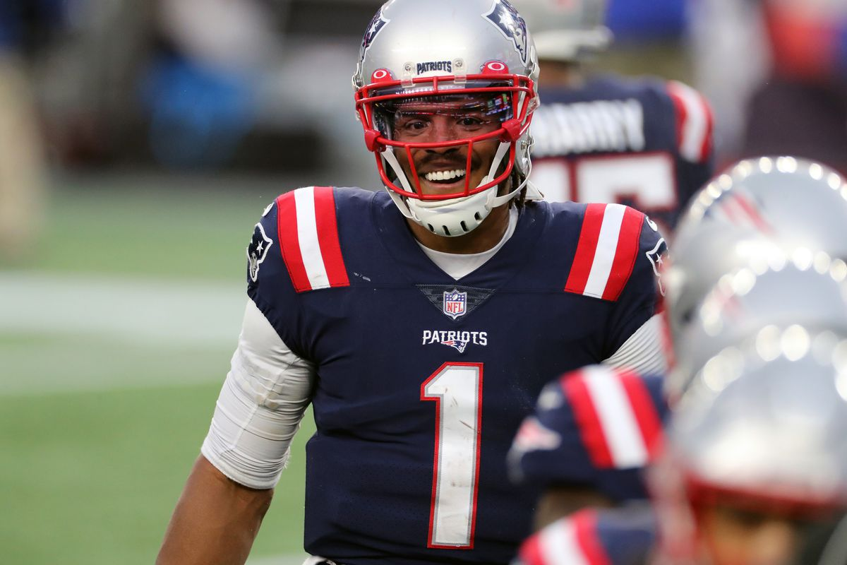 Cam Newton #1 of the New England Patriots celebrates a Touchdown against the New York Jets at Gillette Stadium on January 3, 2021 in Foxborough, Massachusetts.