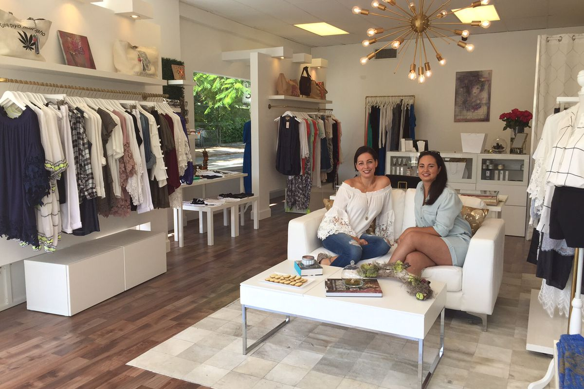 Earthy Chic designers and store owners Eileen Perez-Carrion and Priscilla Reyes at their new boutique.