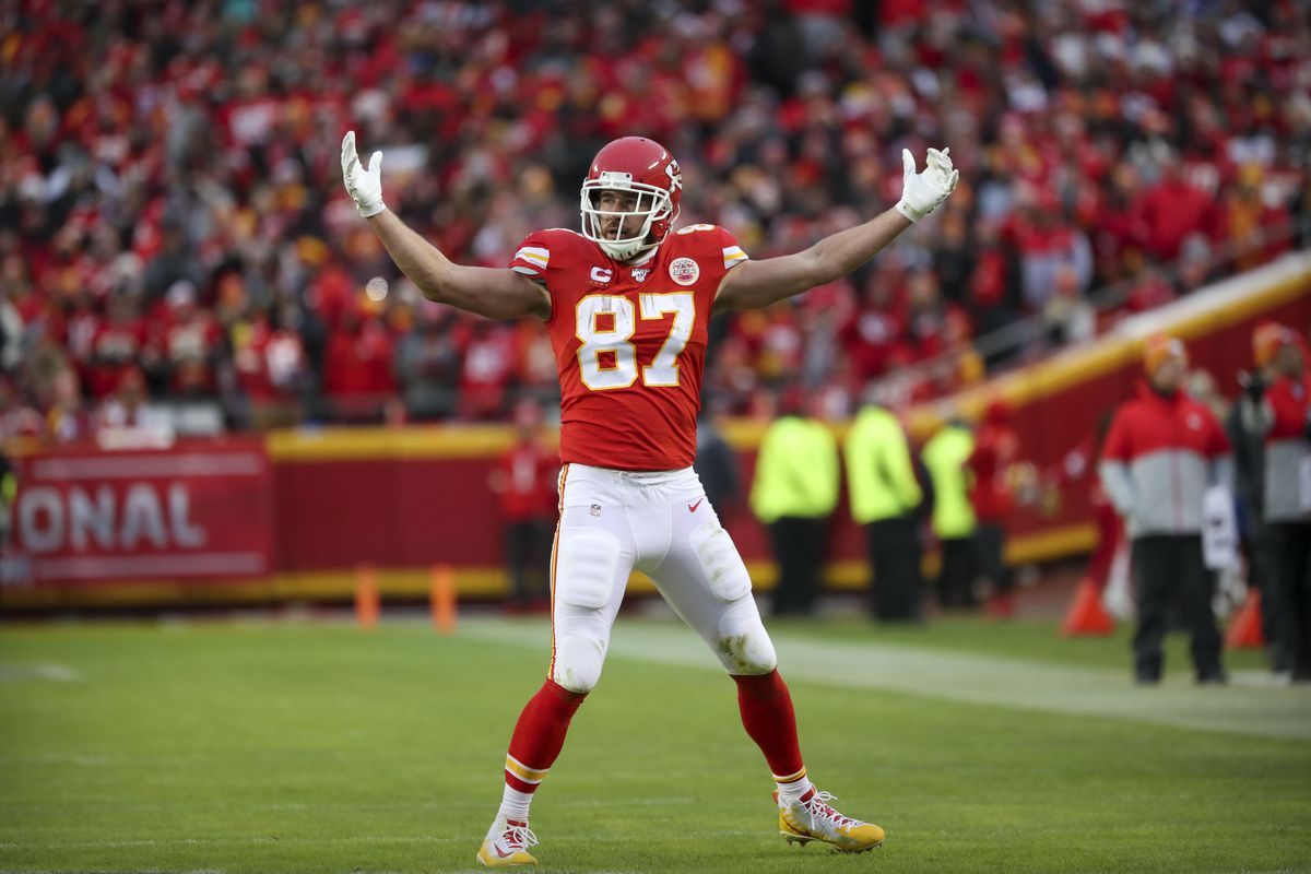Kansas City Chiefs tight end Travis Kelce celebrates during the second half against the Houston Texans in a AFC Divisional Round playoff football game at Arrowhead Stadium.