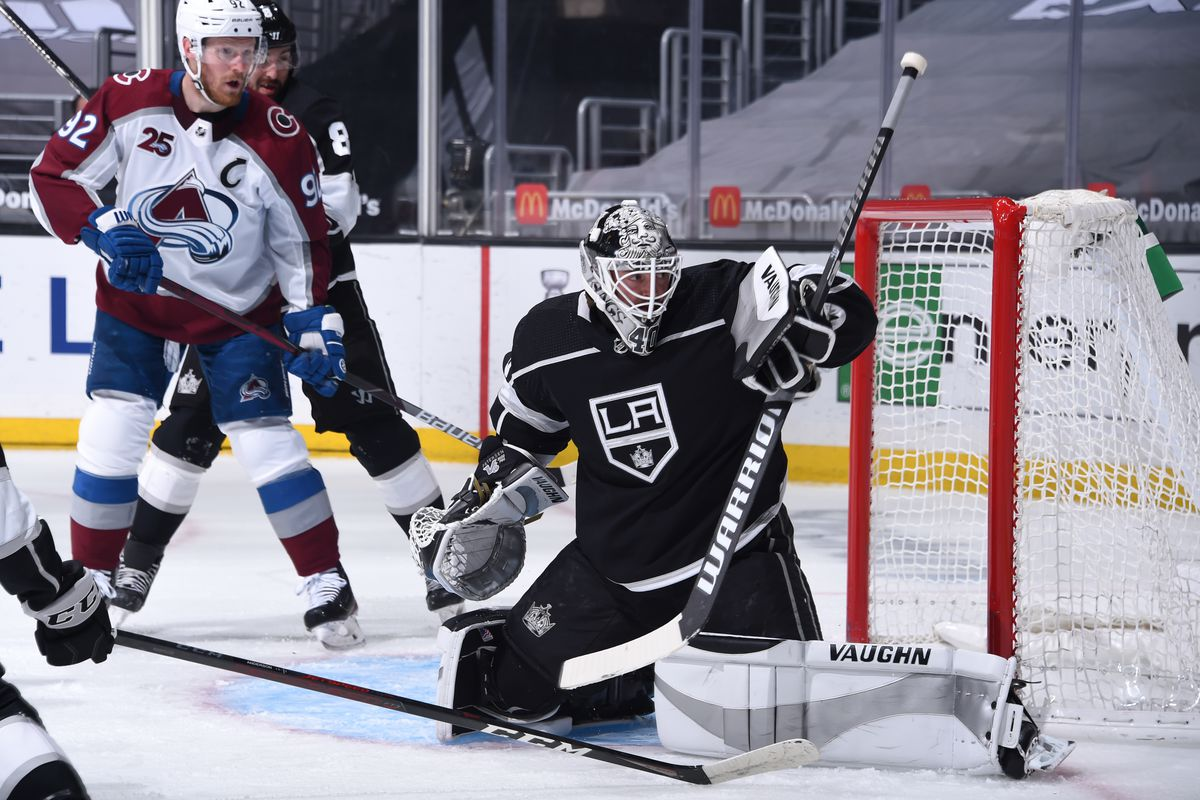 Calvin Petersen #40 of the Los Angeles Kings protects the goal during the first period against the Colorado Avalanche at STAPLES Center on May 7, 2021 in Los Angeles, California.