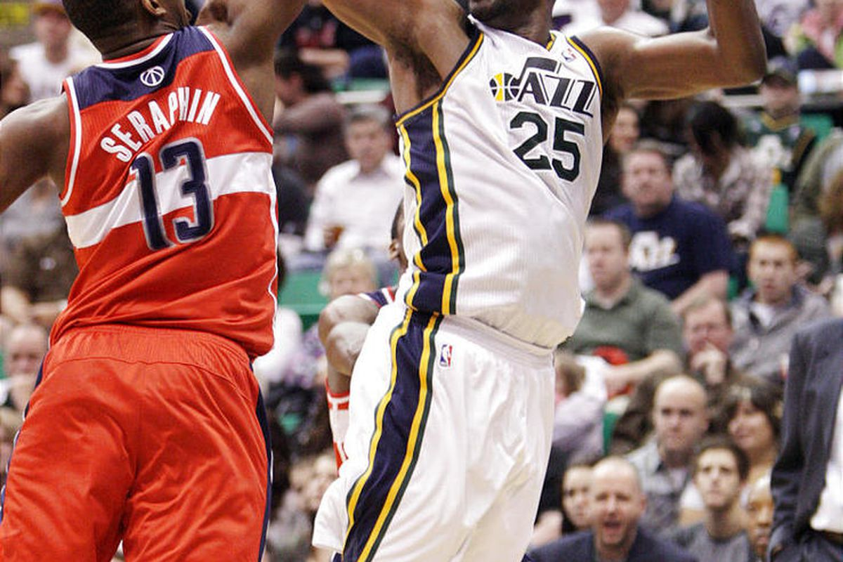 Utah Jazz center Al Jefferson (25) had a game high 34 points past the Wizards during NBA action in in Salt Lake City  Friday, Feb. 17, 2012.