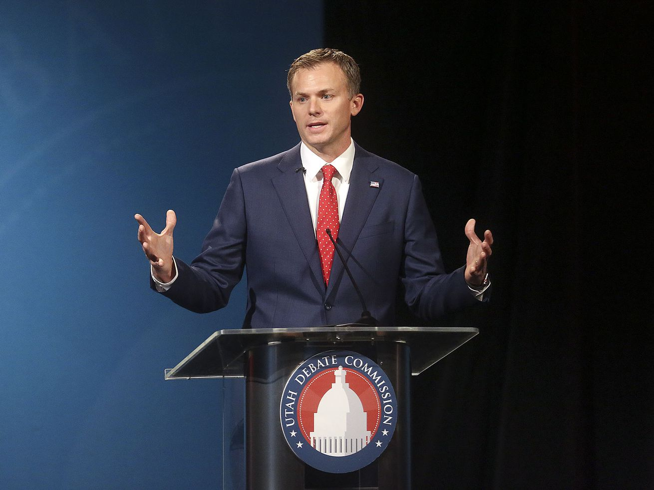 Republican candidate Blake Moore participates in the 1st Congressional District debate against Democrat Darren Perry, not pictured, at the Triad Center on Thursday, Sept. 24, 2020.
