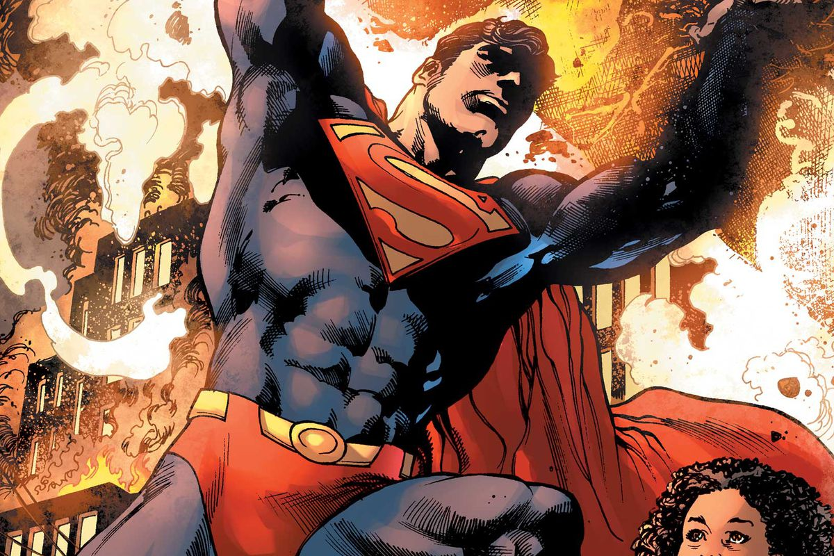 Superman lifts wreckages amid flames in a comic book panel