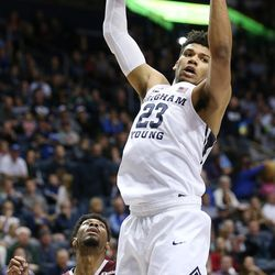Brigham Young Cougars forward Yoeli Childs (23) grabs a rebound over Texas Southern Tigers guard Donte Clark (1) as BYU and Texas Southern play an NCAA basketball game in Provo at the Marriott Center on Saturday, Dec. 23, 2017. BYU won 73-52.