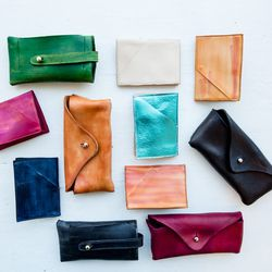 Hand dyed small leather goods by Basil Racuk