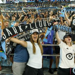 August 7, 2019 - Saint Paul, Minnesota, United States - The Wonderwall celebrate a 2-1 victory as Minnesota United defeated the Portland Timbers 2-1 in the US Open Cup semifinal match at Allianz Field.