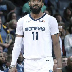 20190310 Memphis Grizzlies Mike Conley (11) in the second half of an NBA basketball game Friday, March 8, 2019, in Memphis, Tenn. (AP Photo/Karen Pulfer Focht) Karen Pulfer Focht FR171263 AP