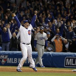 October 22: Anthony Rizzo captures the thrill of winning the National League pennant vs. the Dodgers