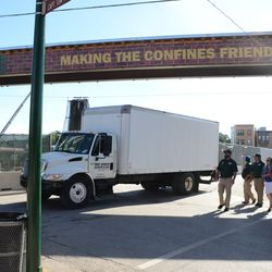 4:44 p.m. The Cubs equipment truck pulling up, to load up for the road trip -