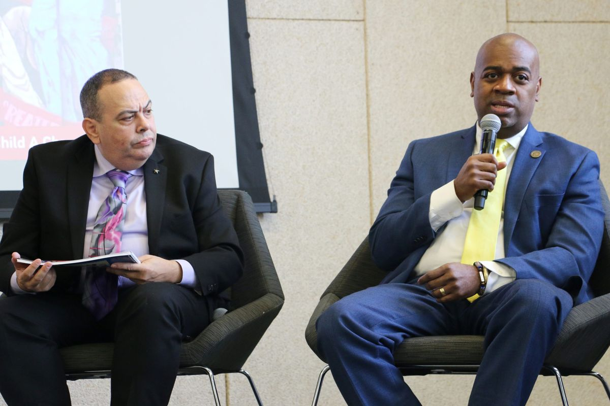 Newark Mayor Ras Baraka, right, with Superintendent Roger León in 2019. Baraka published a message on the City of Newark website Monday defending León against critics who have attacked León for urging the state to close four charter schools.
