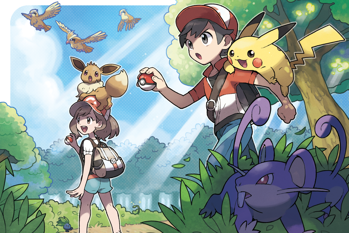 Artwork of the trainers from Pokémon: Let's Go!