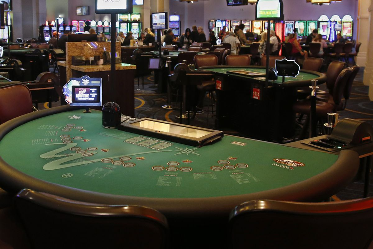 Poker tables in the casino at the WinStar World Casino and Resort