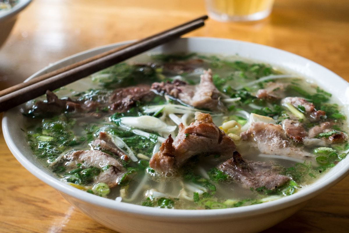 Vietnamese pho soup, with broth simmered for over 20 hours, coming soon from District 7 Pho.