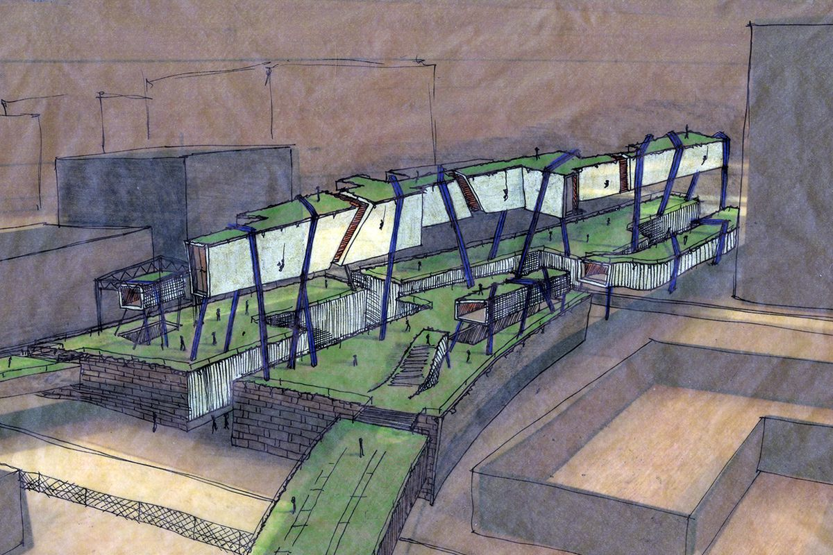 A rendering of the Rail Park in Philadelphia, featuring excavated land rising above ground.