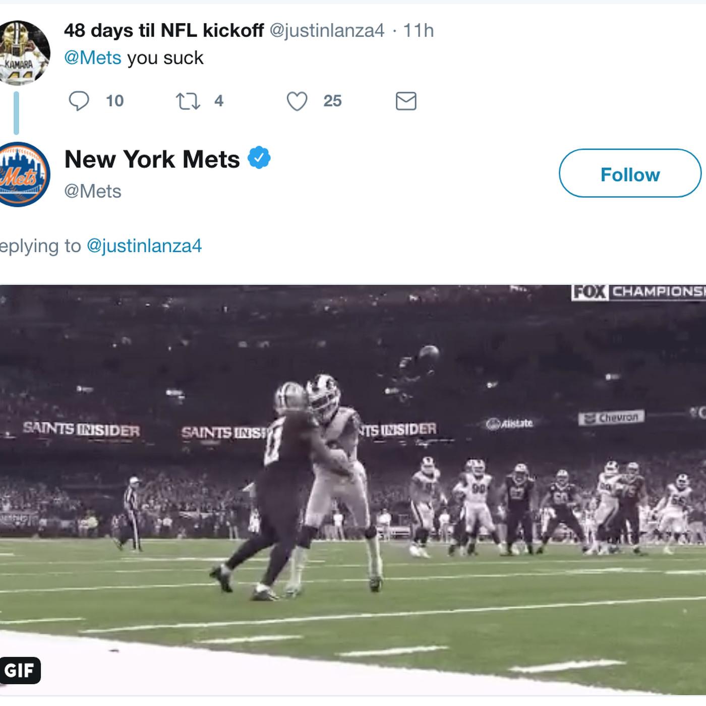 eb065b2b Mets twitter account roasts New Orleans Saints' fan in perfect ...