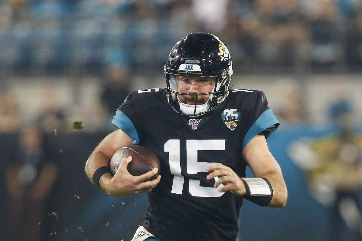Jacksonville Jaguars quarterback Gardner Minshew II runs the ball during the second half against the Indianapolis Colts at TIAA Bank Field.