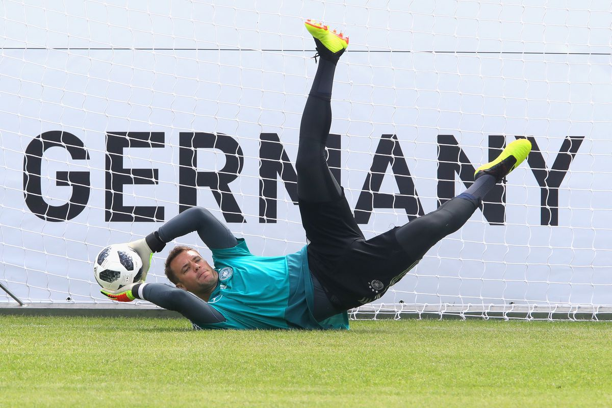 EPPAN, ITALY - MAY 29: Manuel Neuer safes the ball during a training session of the German national team at Sportanlage Rungg on day seven of the Southern Tyrol Training Camp on May 29, 2018 in Eppan, Italy.
