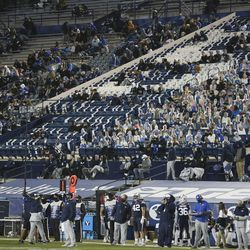 Fans watch as BYU plays Texas State in Provo on Saturday, Oct. 24, 2020. In addition to the first BYU home game with fans in attendance, the stands were also filled with cardboard cutouts.