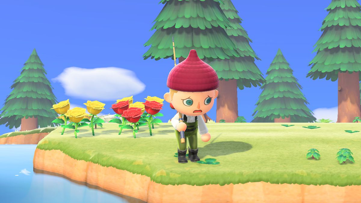 A villager wearing fishing waders appears sad while holding a fishing rod in a screenshot from Animal Crossing: New Horizons.