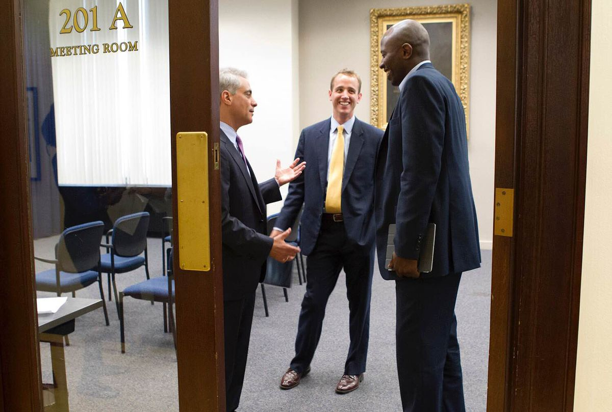 There have been lighter moments with Mayor Rahm Emanuel, but there have been times when Mike Faulman (center) has had to deal with the mayor's famous temper. | File photo