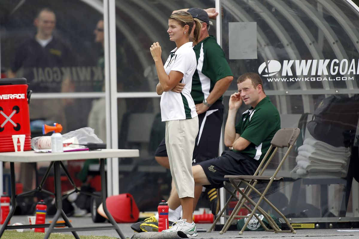 Coach Schilte-Brown and the Lady Half-Hoops start the season off against UCF. Credit J Meric and GoUSFBulls.com For Photo