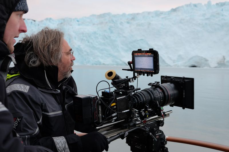 The crew shooting icebergs in Greenland.