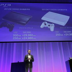 Sony Computer Entertainment Inc. President and CEO, Andrew House introduces the new PlayStation 3 during a news conference in Tokyo, Wednesday, Sept. 19, 2012. Sony Corp. is introducing a smaller, slimmer and lighter version of its PlayStation 3 home console ahead of the year-end holidays as it gears up for growing competition in games from smartphones.  The global rollout starts Sept. 25 in North America, where the 250 gigabyte version will sell for $269. The other version sells for $299 from Oct. 30. In Japan, the models go on sale Oct. 4 for 29,980 yen ($380) and 24,980 yen ($316).