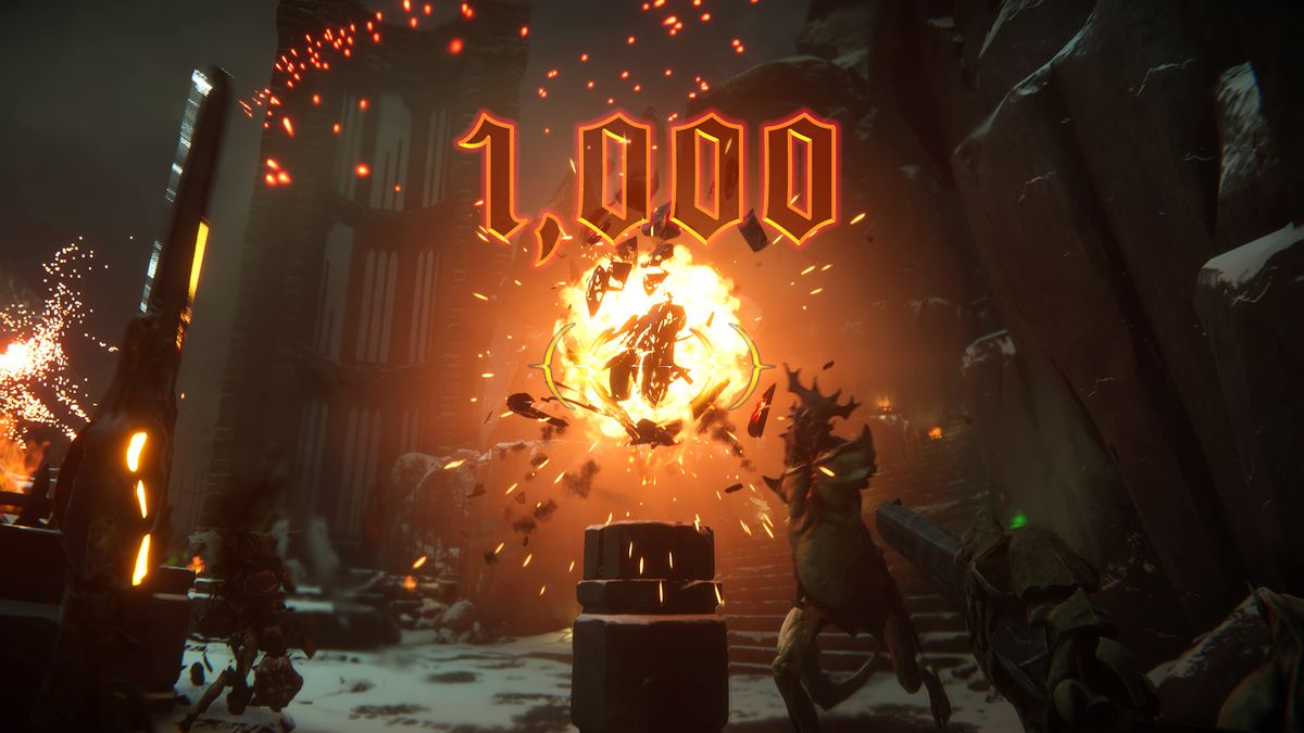 "An exploding crystal tears into a half—dozen demons. ""1,000"" points appear on the HUD in Metal: Hellsinger"