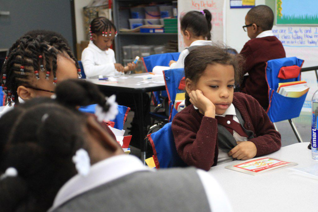 A kindergarten student works on reading skills at Brownsville Ascend Lower Charter School in Brooklyn.